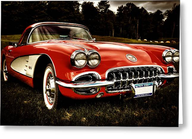 Collector Hood Ornament Greeting Cards - 1960 Chevy Corvette Greeting Card by David Patterson