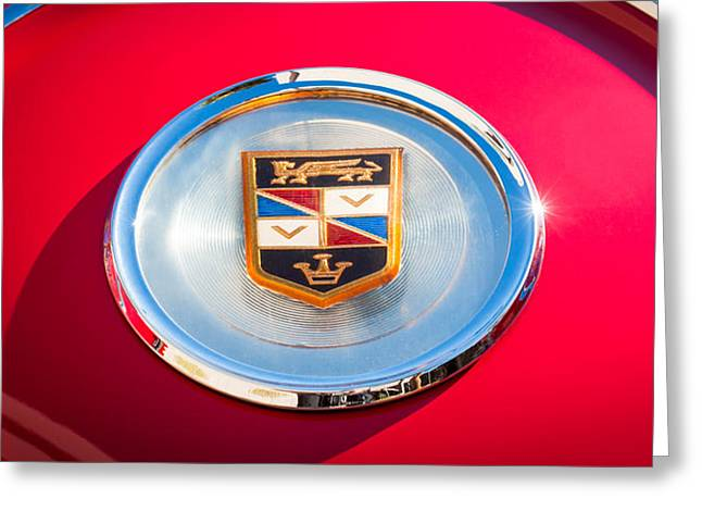 1960 Greeting Cards - 1960 Chrysler Imperial Crown Convertible Emblem Greeting Card by Jill Reger