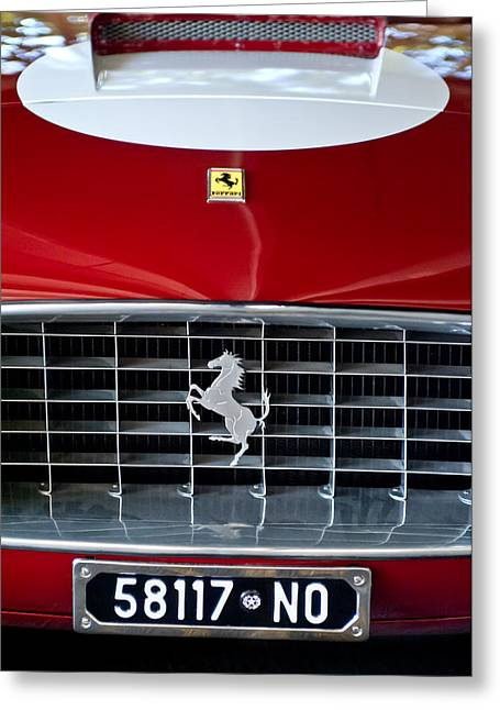 1960 Greeting Cards - 1960 Ferrari 250 GT SWB Berlinetta Competizione Grille Emblem Greeting Card by Jill Reger