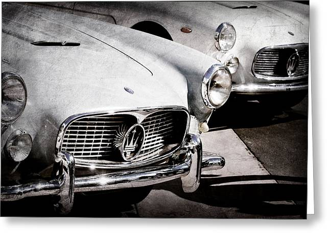 1960 Greeting Cards - 1960 Maserati Grille Emblem Greeting Card by Jill Reger