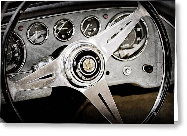 1960 Greeting Cards - 1960 Maserati Steering Wheel Emblem Greeting Card by Jill Reger