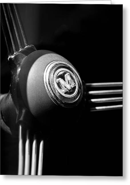 1960 Greeting Cards - 1960 Morris Minor Panel Delivery Truck Steering Wheel Emblem Greeting Card by Jill Reger