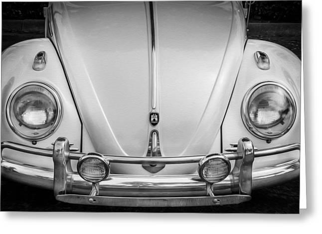 Recently Sold -  - 1960 Greeting Cards - 1960 Volkswagen Beetle VW Bug   BW Greeting Card by Rich Franco