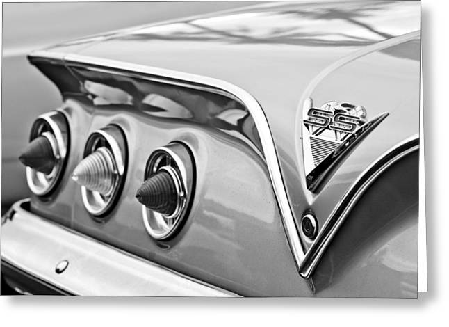 Tail Light Greeting Cards - 1961 Chevrolet SS Impala Tail Lights Greeting Card by Jill Reger