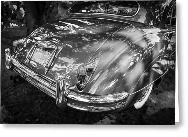 Gran Jaguar Greeting Cards - 1961 Jaguar Mark IX Saloon BW Greeting Card by Rich Franco