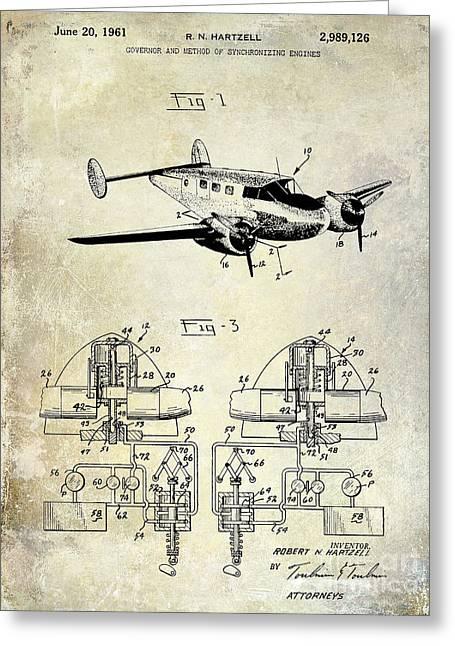 Propeller Airplane Greeting Cards - 1961 Propeller Patent Blueprint Greeting Card by Jon Neidert