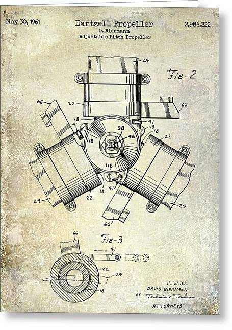 Propeller Greeting Cards - 1961 Propeller Patent Drawing Greeting Card by Jon Neidert