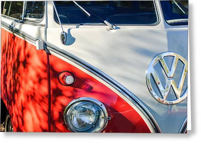 96 Inch Panoramic - 1961 Volkswagen Vw 23-window Deluxe Station Wagon Emblem Greeting Card by Jill Reger