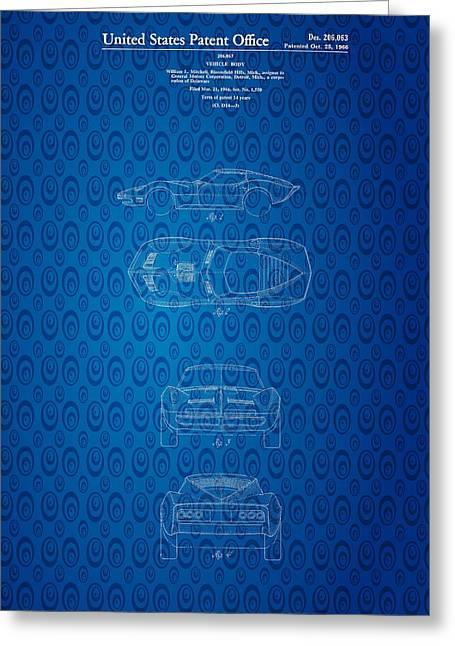 Important Mixed Media Greeting Cards - 1963 Corvette Stingray Patent Art Blueprint Greeting Card by Michael Braham