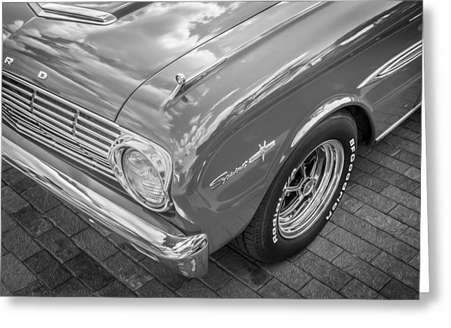 1963 Ford Greeting Cards - 1963 Ford Falcon Sprint Convertible BW  Greeting Card by Rich Franco