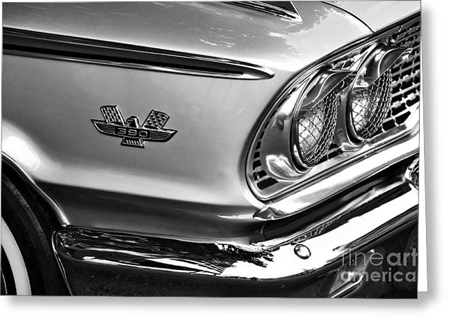 1963 Ford Greeting Cards - 1963 Ford Galaxie Front End and Badge Greeting Card by Kaye Menner