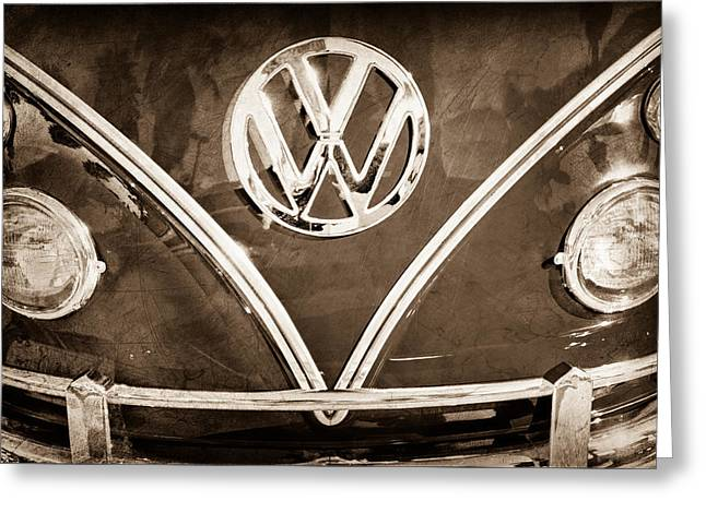 Double Image Greeting Cards - 1964 Volkswagen Vw Double Cab Emblem Greeting Card by Jill Reger