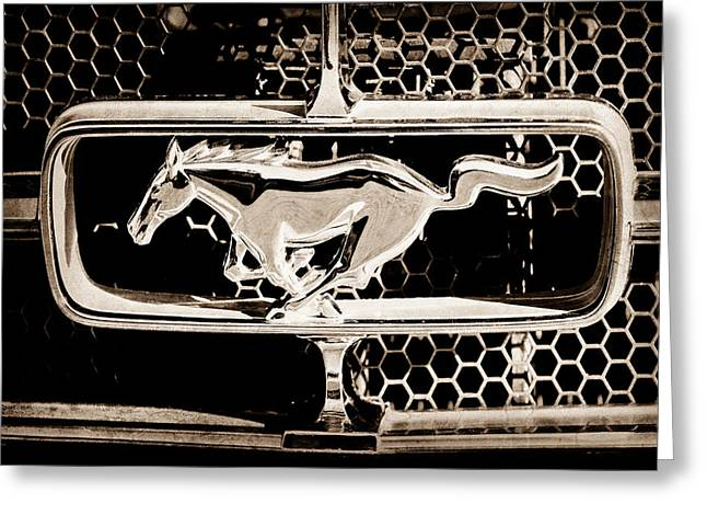 1965 Ford Mustang Greeting Cards - 1965 Ford Shelby Mustang Grille Emblem Greeting Card by Jill Reger