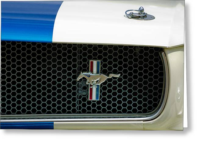 Gt-350 Greeting Cards - 1966 Shelby GT 350 Grille Emblem Greeting Card by Jill Reger