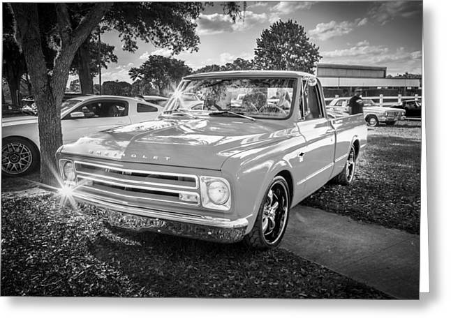 Old Trucks Greeting Cards - 1967 Chevy Silverado Pick up Truck  BW Greeting Card by Rich Franco