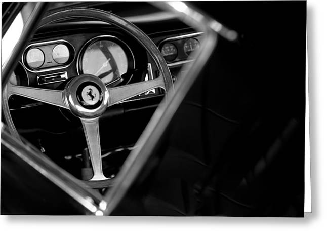 Steering Greeting Cards - 1967 Ferrari 275 GTB 4 Steering Wheel Emblem Greeting Card by Jill Reger