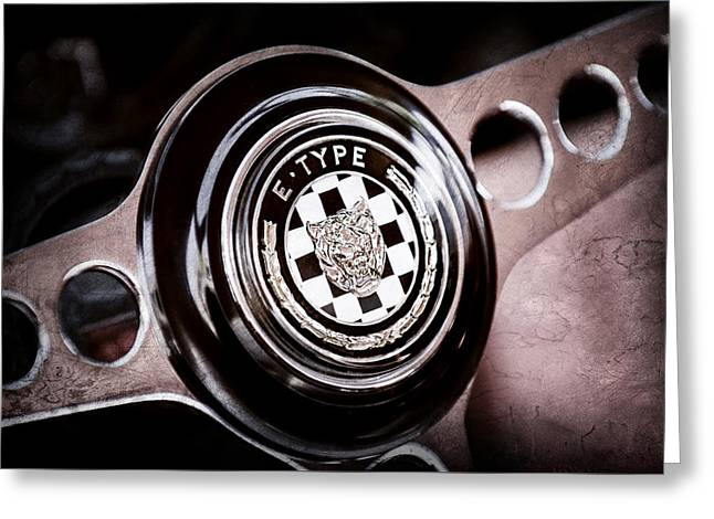 Steering Greeting Cards - 1967 Jaguar E-Type Series I 4.2 Roadster Steering Wheel Emblem Greeting Card by Jill Reger
