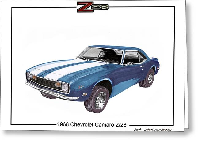 Three Speed Greeting Cards - 1968 Chevrolet Camaro Z 28 Greeting Card by Jack Pumphrey
