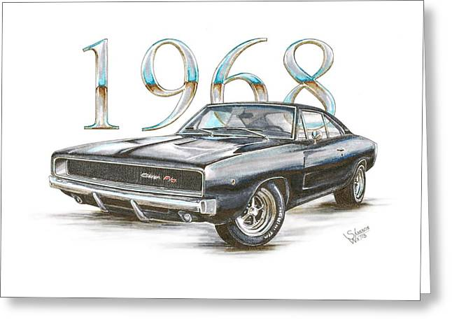 1968 Drawings Greeting Cards - 1968 Dodge Charger R/T Greeting Card by Shannon Watts