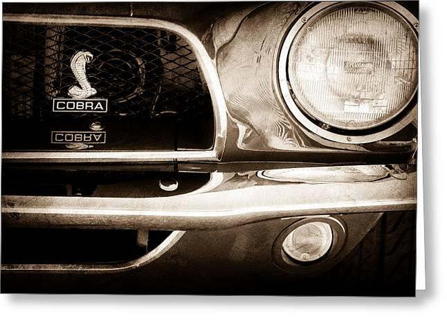 Fastback Greeting Cards - 1968 Ford Mustang Fastback 427 CI Cobra Grille Emblem Greeting Card by Jill Reger