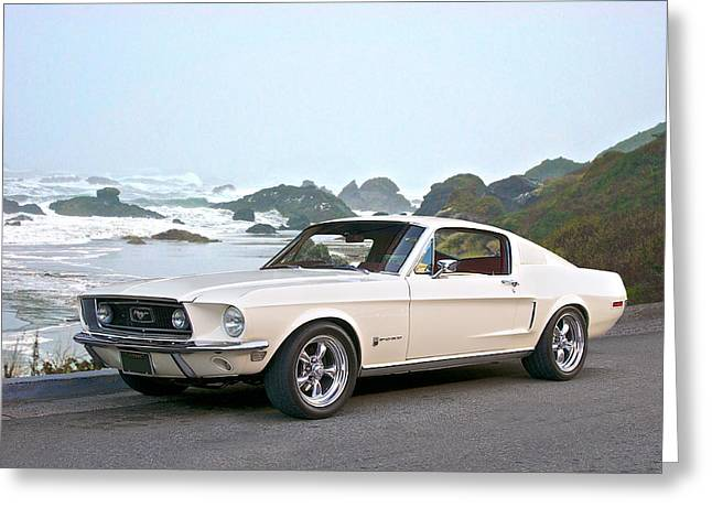 Family Car Greeting Cards - 1968 Ford Mustang Fastback Greeting Card by Dave Koontz