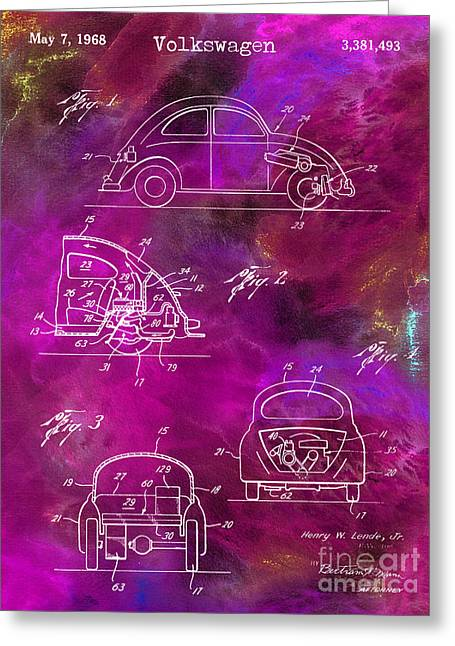 Psychedelic Photographs Greeting Cards - 1968 VW Patent Drawing Greeting Card by Jon Neidert