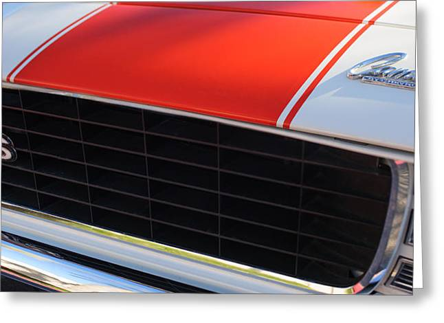 Indy Car Greeting Cards - 96 Inch Panoramic -1969 Chevrolet Camaro RS-SS Indy Pace Car Replica Grille - Hood Emblems Greeting Card by Jill Reger