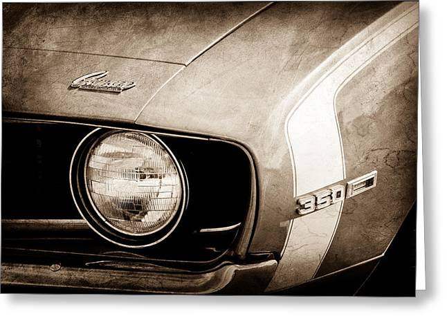 Headlight Greeting Cards - 1969 Chevrolet Camaro SS Headlight Emblems Greeting Card by Jill Reger