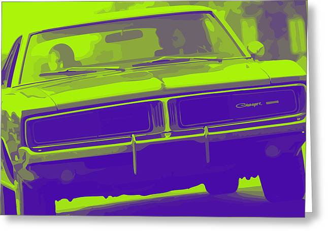 Purple V8 Greeting Cards - 1969 Dodge Charger Greeting Card by Gordon Dean II