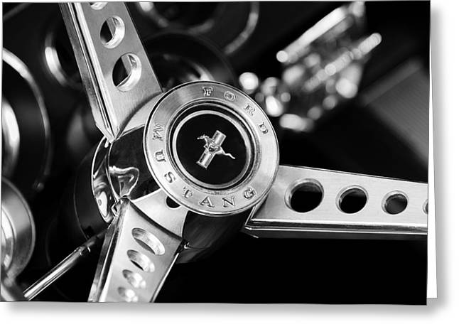 Car Photographers Greeting Cards - 1969 Ford Mustang Mach 1 Steering Wheel Greeting Card by Jill Reger