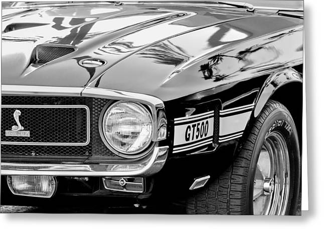 1969 Greeting Cards - 1969 Shelby Cobra GT500 Front End - Grille Emblem Greeting Card by Jill Reger