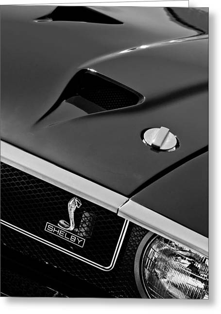 Ford Cobras Greeting Cards - 1969 Shelby GT500 Convertible 428 Cobra Jet Hood - Grille Emblem Greeting Card by Jill Reger