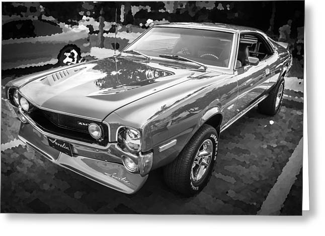 American Motors Corporation Greeting Cards - 1970 AMC Javelin 401 BW Greeting Card by Rich Franco