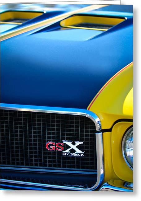 70 Greeting Cards - 1970 Buick GSX Grille Emblem Greeting Card by Jill Reger
