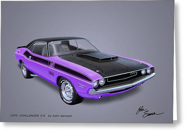 Virgil Greeting Cards - 1970 CHALLENGER T-A  muscle car sketch rendering Greeting Card by John Samsen