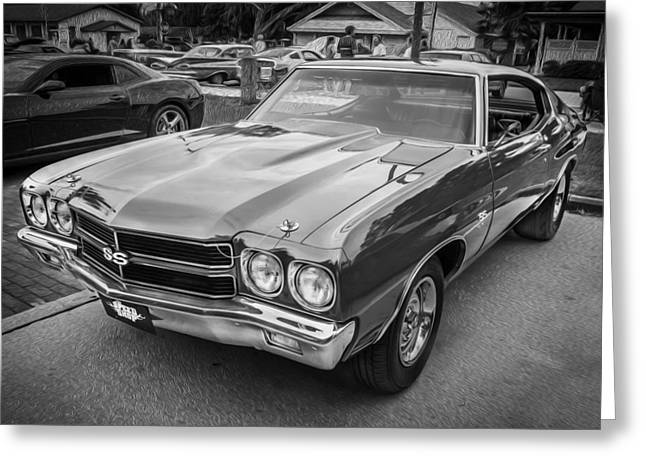 V8 Chevelle Greeting Cards - 1970 Chevy Chevelle 454 SS Painted BW   Greeting Card by Rich Franco