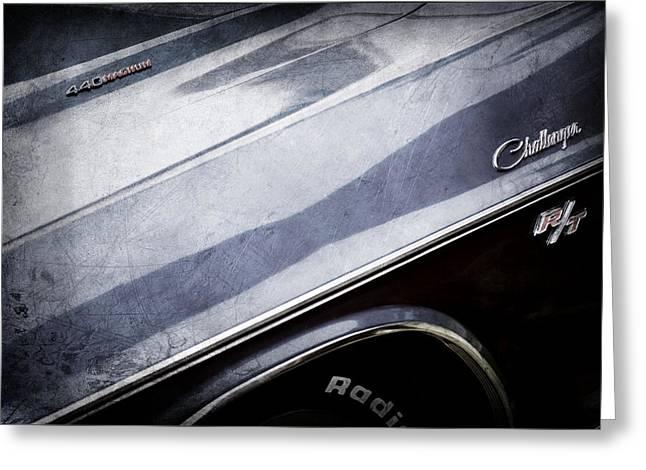 1970 Dodge Challenger RT Convertible Emblems Greeting Card by Jill Reger