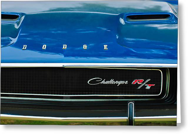 Rt. Greeting Cards - 1970 Dodge Challenger RT Convertible Grille Emblem Greeting Card by Jill Reger