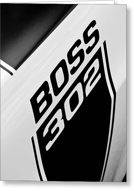 Famous Photographer Greeting Cards - 1970 Ford Mustang Boss 302 Emblem Greeting Card by Jill Reger