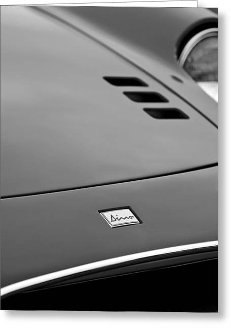 Dino Greeting Cards - 1974 Ferrari Dino 246GTS Hood Emblem Greeting Card by Jill Reger
