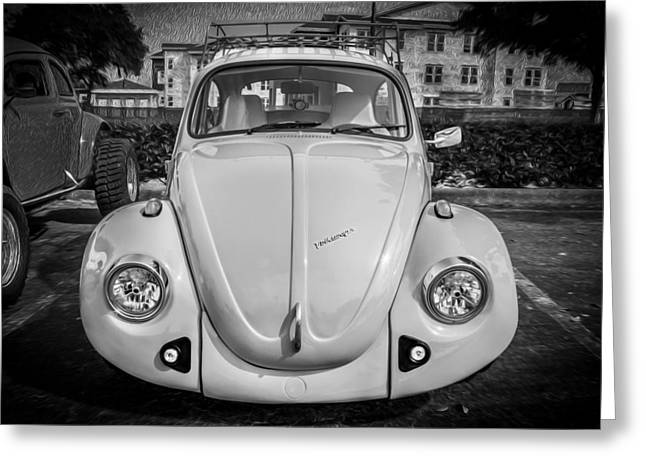Vw Beetle Greeting Cards - 1974 Volkswagen Beetle VW Bug  BW Greeting Card by Rich Franco