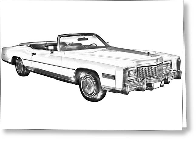 Stylish Car Greeting Cards - 1975 Cadillac Eldorado Convertible Illustration Greeting Card by Keith Webber Jr