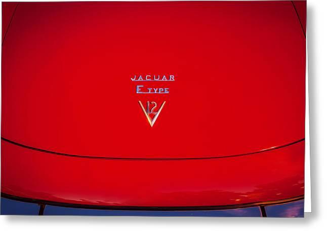 Gran Jaguar Greeting Cards - 1975 Jaguar XKE V12 Hood Ornament Painted BW  Greeting Card by Rich Franco
