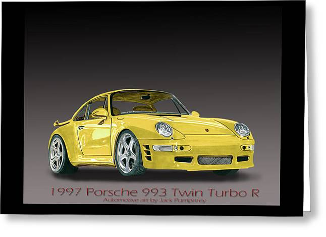 Spokes Paintings Greeting Cards - 1997 Porsche  993 Twin Turbo Greeting Card by Jack Pumphrey