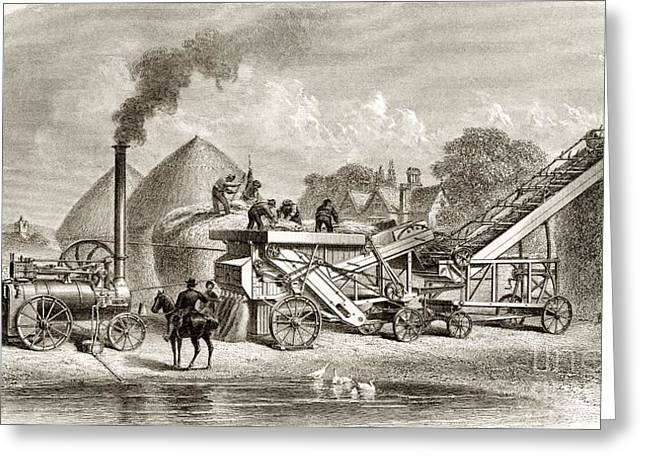 Mechanization Greeting Cards - 19th Century Steam Thrashing Machinery Greeting Card by Sheila Terry