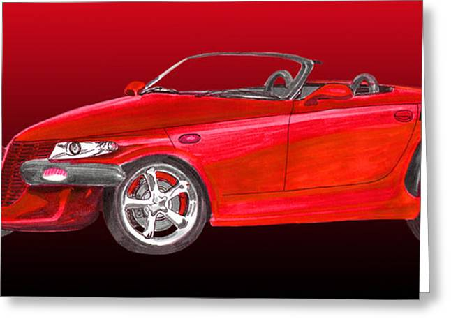 Pen And Ink Framed Prints Greeting Cards - 2002 Plymouth Prowler Greeting Card by Jack Pumphrey