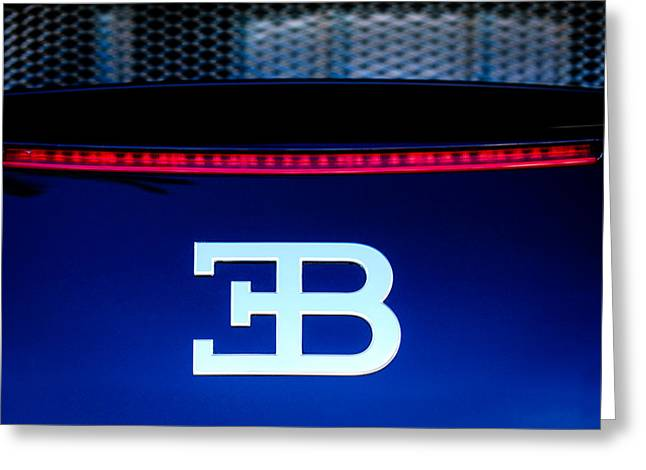 Famous Photographers Greeting Cards - 2008 Bugatti Veyron Emblem Greeting Card by Jill Reger