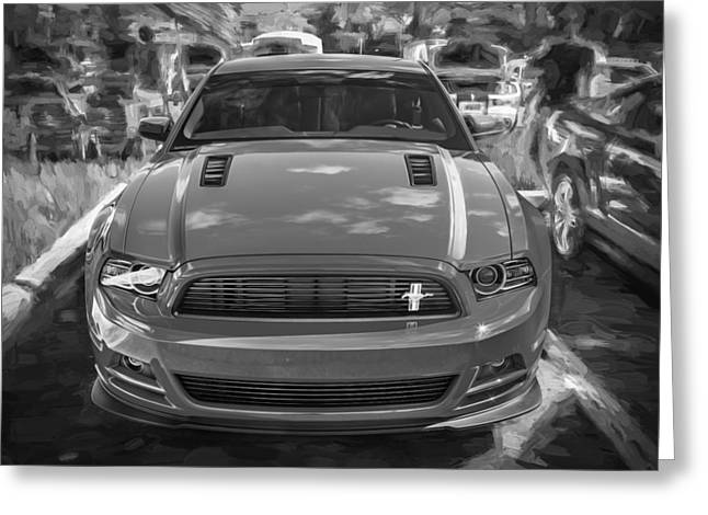 Cs Greeting Cards - 2013 Ford Mustang GT CS Painted BW Greeting Card by Rich Franco