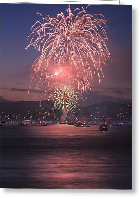 July 4th Pyrography Greeting Cards - 2014 4th of July Firework Celebration.  Greeting Card by Jason  Choy