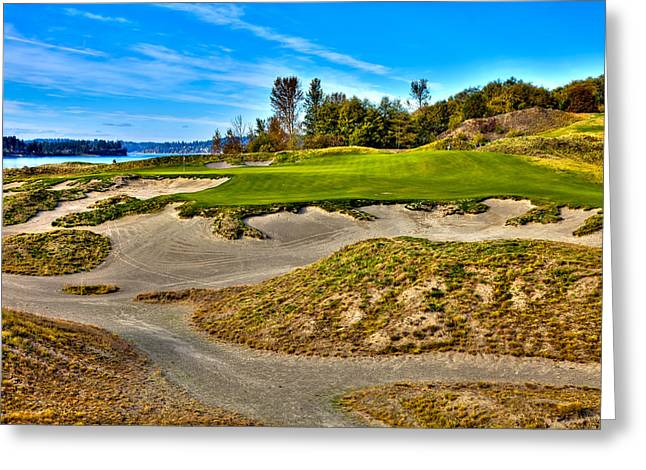 Chambers Bay Golf Course Greeting Cards - #3 at Chambers Bay Golf Course - Location of the 2015 U.S. Open Championship Greeting Card by David Patterson